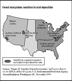 FIGURE 7.5 Forest ecosystems sensitive to acid deposition
