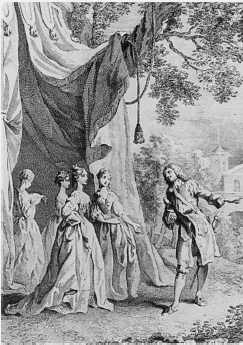 Act V, scene ii. Princess, Boyet, and Ladies. Frontispiece to the Hanmer edition by Francis Hayman (&#xA1;744).